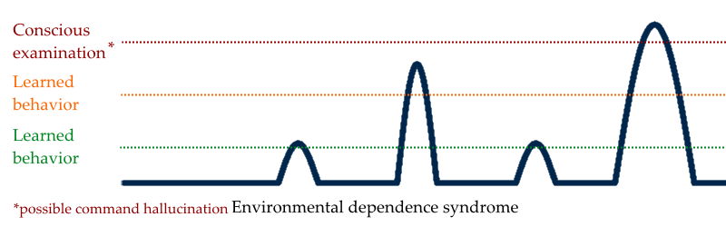 Visual representation of environmental dependency syndrome